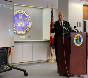 During a news conference in Honolulu on Wednesday, June 30, 2021, Prosecuting Attorney Steve Alm announces he won't be filing charges against officers who killed Lindani Myeni.