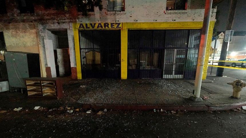 Local business are seen damaged after illegal fireworks seized at a South Los Angeles home exploded, in South Los Angeles Wednesday evening, June 30, 2021.