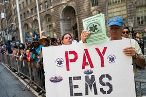 Off-duty FDNY EMS personnel are boycotting the New York City ticker tape parade for essential workers to protest pay disparity.