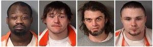 These undated photos provided by the Fulton County Sheriff's Department in Lewistown, Ill., shows, from left, Jesse Davis, 35, Cody Villalobos, 26, Zachary Hart, 36, and Eugene Roets, 23.