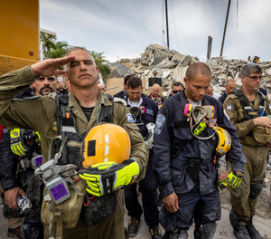 """The Israeli search and rescue team that arrived in South Florida shortly after the Champlain Towers South collapsed last month is heading home after an emotional sendoff in Surfside. During a brief ceremony, Miami-Dade Mayor Daniella Levine Cava thanked the battalion for their """"unrelenting dedication."""