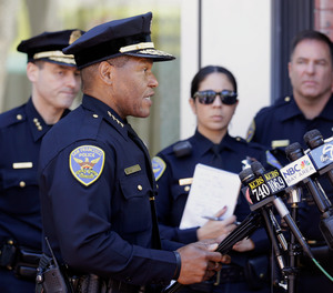 In this May 3, 2017, file photo, San Francisco Police Chief Bill Scott speaks to reporters in San Francisco.