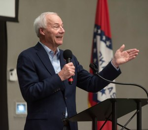 In this July 15, 2021 file photo, Arkansas Gov. Asa Hutchinson speaks during a town hall meeting in Texarkana, Ark.