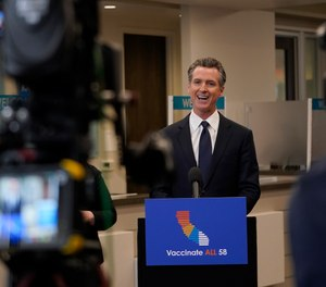 Gov. Gavin Newsom speaks at a news conference in Oakland, Calif., Monday, July 26, 2021.