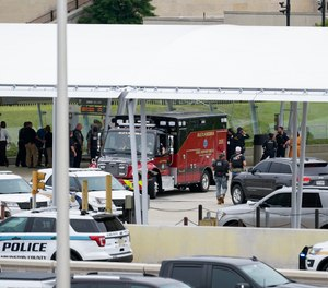 Emergency vehicles are seen outside the Pentagon Metro area Tuesday, Aug. 3, 2021, at the Pentagon in Washington.