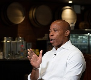 Eric Adams, a candidate for New York City mayor, speaks during an interview at a Brooklyn diner, Wednesday, Aug. 4, 2021.
