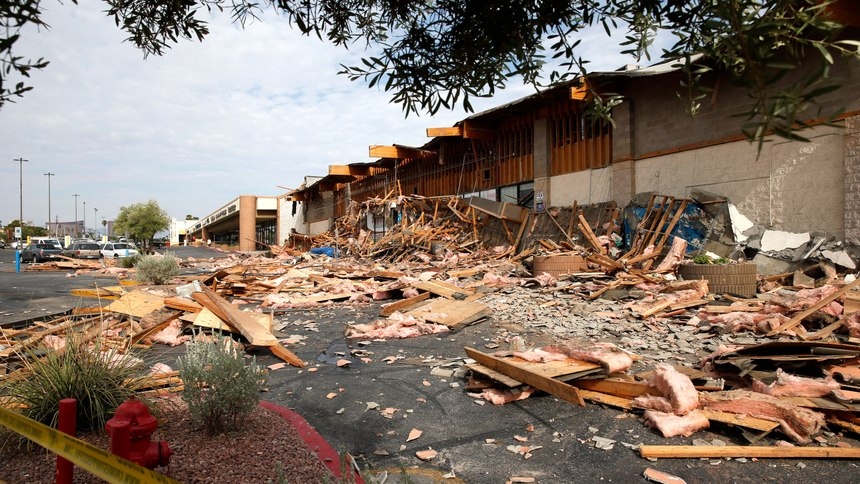 A view of a La Bonita supermarket after the storefront collapsed in Las Vegas, Friday, Aug. 13, 2021. Authorities say several people were treated for unspecified minor injuries after the storefront collapse at the supermarket.