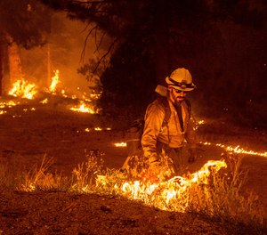 While battling the Caldor fire, firefighters burn vegetation to create a control line along Highway 50 in Eldorado National Forest, Calif.