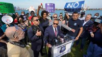 Ex-Detroit police chief enters Mich. governor's race, is interrupted by protesters