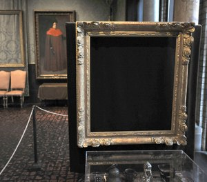 In this March 11, 2010 file photo, empty frames from which thieves took
