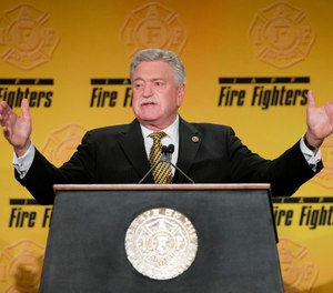 International Association of Fire Fighters President Harold A. Schaitberger speaks at the IAFF Legislative Conference and Presidential Forum in 2015. The IAFF has concluded its internal investigation into allegations of financial misconduct by Schaitberger, stating Schaitberger was not at fault for any alleged pension overpayments. (AP Photo/Pablo Martinez Monsivais)