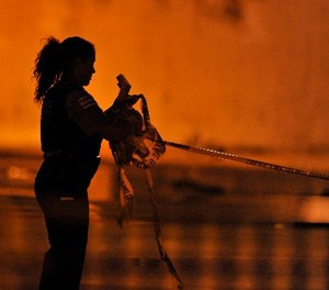 A Chicago Police detective collects crime scene tape from the scene early Friday, Sept. 20, 2013. (AP Photo/Paul Beaty)