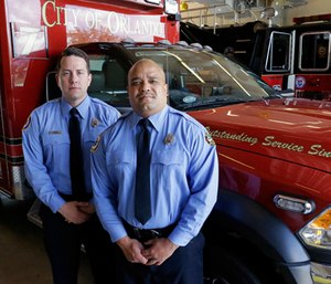 Josh Granada, left, and Carlos Tavarez made five trips with 13 victims to a hospital emergency room just a few blocks away the evening of the shooting. (Photo/AP)
