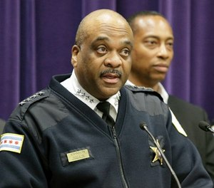 Chicago Police Department Superintendent Eddie Johnson speaks during a news conference Wednesday, April 5, 2017, in Chicago. (AP Photo/Teresa Crawford)