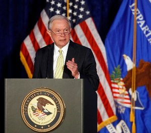 Attorney General Jeff Sessions speaks during the Justice Department's National Summit on Crime Reduction and Public Safety, in Bethesda, Md., on Tuesday, June 20, 2017. (AP Photo/Jacquelyn Martin)