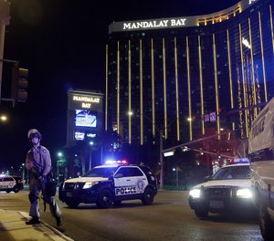 "LVMPD has ""addressed lifesaving measures to secure open-air venues that face high-rise structures,"" and ""now keeps trauma kits on-hand at large venues"" to treat injured people, according to a department statement. (AP Photo/John Locher)"