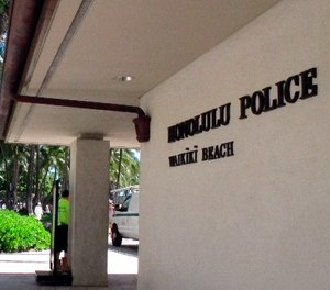 This March 19, 2014, file photo a Honolulu Police Department station in Honolulu's tourist area of Waikiki.