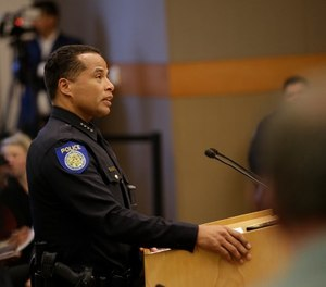 In the wake of the shooting death of Stephon Clark by Sacramento police, Sacramento Police Chief Daniel Hahn discusses some of the questions posed by the Sacramento City Council of how to prevent such incidents, Tuesday, April 10, 2018, in Sacramento, Calif. Clark, who was unarmed, was killed by two police officers in the backyard of his grandmother's home when they mistook the cellphone he was holding for a gun, March 18.