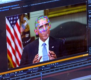 This image made from video of a fake video featuring former President Barack Obama shows elements of facial mapping used in new technology that lets anyone make videos of real people appearing to say things they've never said. (AP Photo)