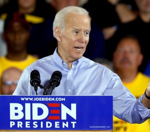 Democratic presidential candidate former Vice President Joe Biden speaks during a campaign stop at a Teamsters union hall in Pittsburgh, Monday, April 29, 2019.