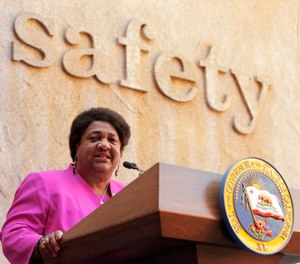 Assemblywoman Shirley Weber, D-San Diego, discusses her measure, AB-392, during a bill signing ceremony in Sacramento, Calif., Monday, Aug. 19, 2019. (AP Photo/Rich Pedroncelli)