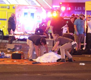 Atmosphere in the immediate aftermath of the mass shooting on the Las Vegas Strip (Las Vegas Boulevard) in Las Vegas, Nevada on Sunday, October 1st, 2017. (Photo/AP file)