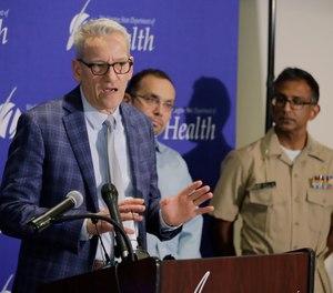 John Wiesman, Washington state Secretary of Health, speaks Wednesday, Jan. 22, 2020, during a news conference in Shoreline, Wash.