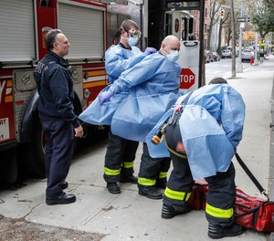 Rarely do firefighters wear specific barrier clothing during EMS unless it is their turnout pants or some disposable cover, such as an apron or isolation gown.