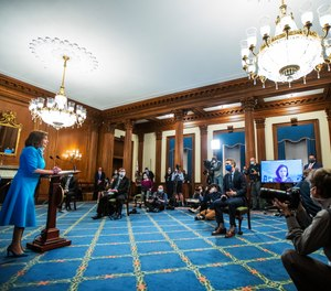 House Speaker Nancy Pelosi of Calif., speaks during a news conference on Capitol Hill, Thursday, May 7, 2020, in Washington. Pelosi unveiled a $3 trillion COVID-19 aid package on Tuesday that would include $200 billion in hazard pay for essential workers.