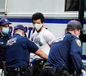 A view of the rally against the death of Minneapolis, Minnesota man George Floyd at the hands of police on May 28, 2020 in Union Square in New York City.