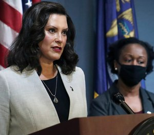 Michigan Gov. Gretchen Whitmer addresses the state during a speech in Lansing, Mich., Wednesday, June 17, 2020. A supplemental funding bill negotiated between Whitmer and state lawmakers will provide state departments with an additional $880 million. (Photo/Michigan Office of the Governor via AP)