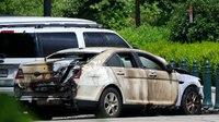 Suspect sets police car on fire, burns self outside Supreme Court