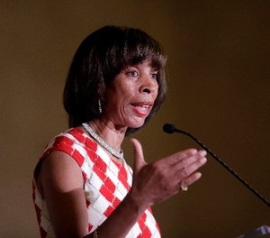 Baltimore Mayor Catherine Pugh delivers an address during her inauguration ceremony inside the War Memorial Building in Baltimore, Tuesday, Dec. 6, 2016.