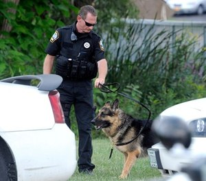A police K-9 team rest after searching for suspects in the shooting of a police officer Tuesday, Sept. 1, 2015 in Fox Lake, Ill. (AP Photo/Michael Schmidt)