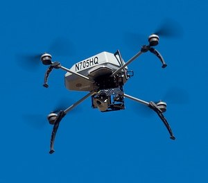 A drone operated by the Alameda County Sheriff's Office flies during a demonstration of a search and rescue operation on Friday, Aug. 14, 2015, in Dublin, Calif. (AP Photo/Noah Berger)