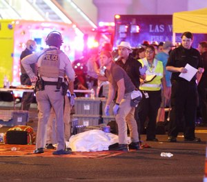 Atmosphere in the immediate aftermath of the mass shooting on the Las Vegas Strip (Las Vegas Boulevard) in Las Vegas, Nevada on Sunday, October 1st, 2017. (Las Vegas, Nevada, USA)