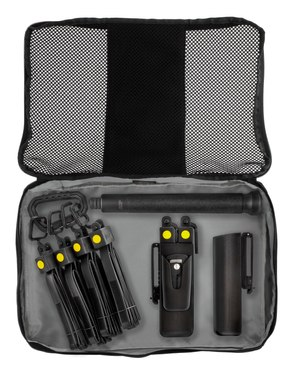 The 12-piece system comes in a durable, slim-profile storage and transport bag.