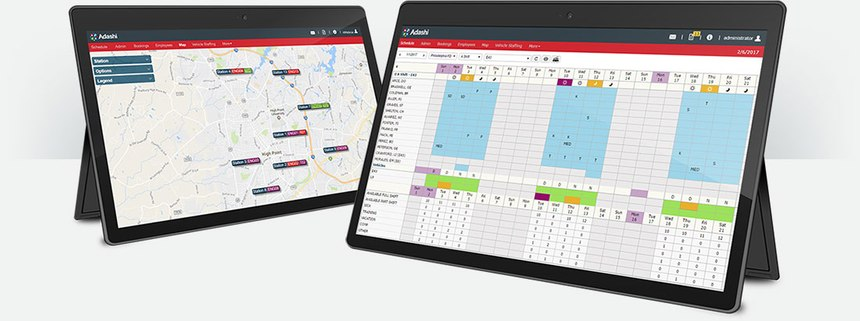 Adashi RollCall mapping and scheduling screens shown on tablets