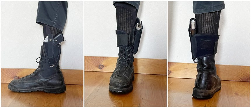With an ankle holster, a BUG can be carried covertly and accessible by either hand.