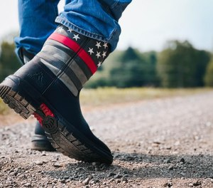 Wear your firefighting pride on your feet with Rocky Red Line Western Boots.