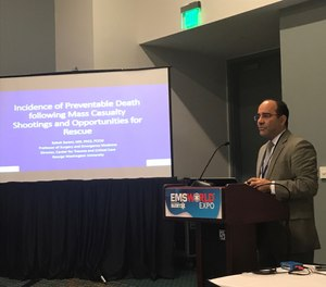 """Babak Sarani, MD, FACS, FCCM, director of the Center for Trauma and Critical Care at George Washington University Hospital in Washington, D.C., presented a session called """"Civilian Mass Shootings: Is death from ballistic wounds preventable?"""" during a session at the 2018 EMS World Expo."""