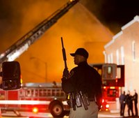 Baltimore: Fire trucks pelted with cinder blocks during riots