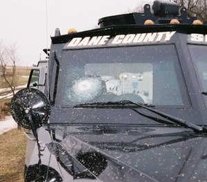 This BearCat was used to respond during a 3-day standoff with self-proclaimed survivalist named Robert Bayliss in rural Wisconsin in 2008. (Photo courtesy of Sgt. Mike Valencia, La Crosse County Sheriff's Department)