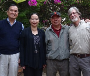 Madame Huynh Ngoc Van, Director of the War Remnants Museum (second from left) with Soldier's Heart, Inc. workers Tran Dinh Song, Lam Van Tien and John Becknell. (Image John Becknell)