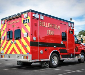 Three Bellingham firefighters responding to a medical call were attacked by a man wielding a 4- to 5-foot PVC pipe, officials say.