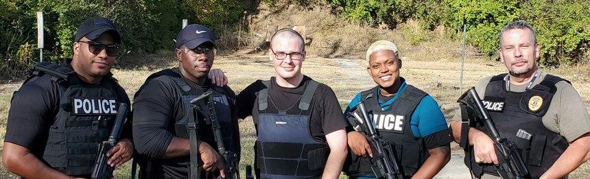 Left to right: Officers Christian Johnson, O'Shay Ross-Conway, Erin O'Brien, Destiny Gloverand Major Steve Runge.