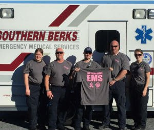 Personnel from Southern Berks Regional EMS display the October duty T-shirt, which is also for sale (Facebook Southern Berks Regional EMS)