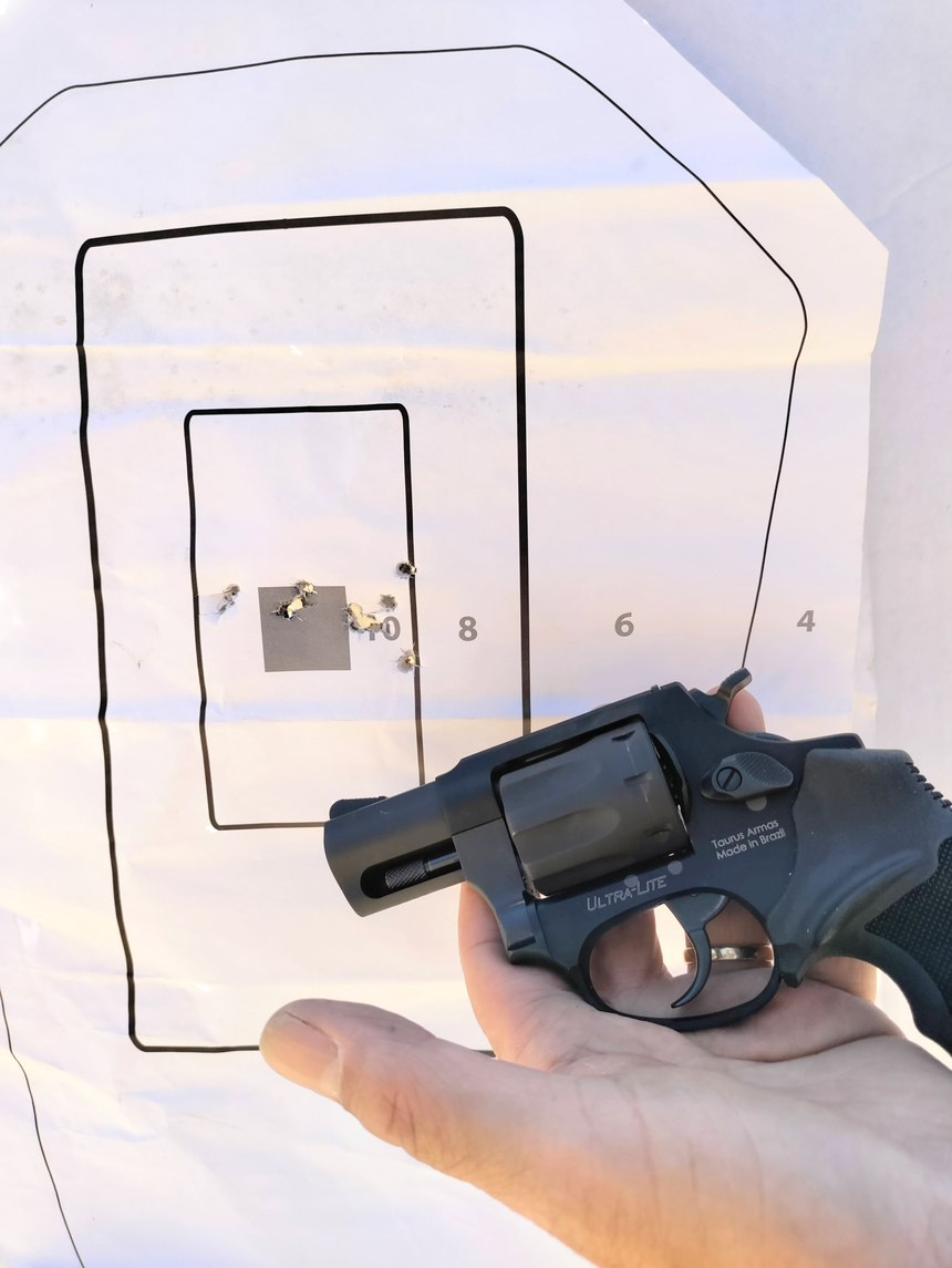 The Taurus 942 is a 17.80 oz DA/SA 8-shot revolver. It was easy to rapid-fire center mass targets all day long at 7 yards with this gun.It proved to be accurate and reliable throughout the test. I shot this gun for my HR 218 qualification for the first time, right out of the box.