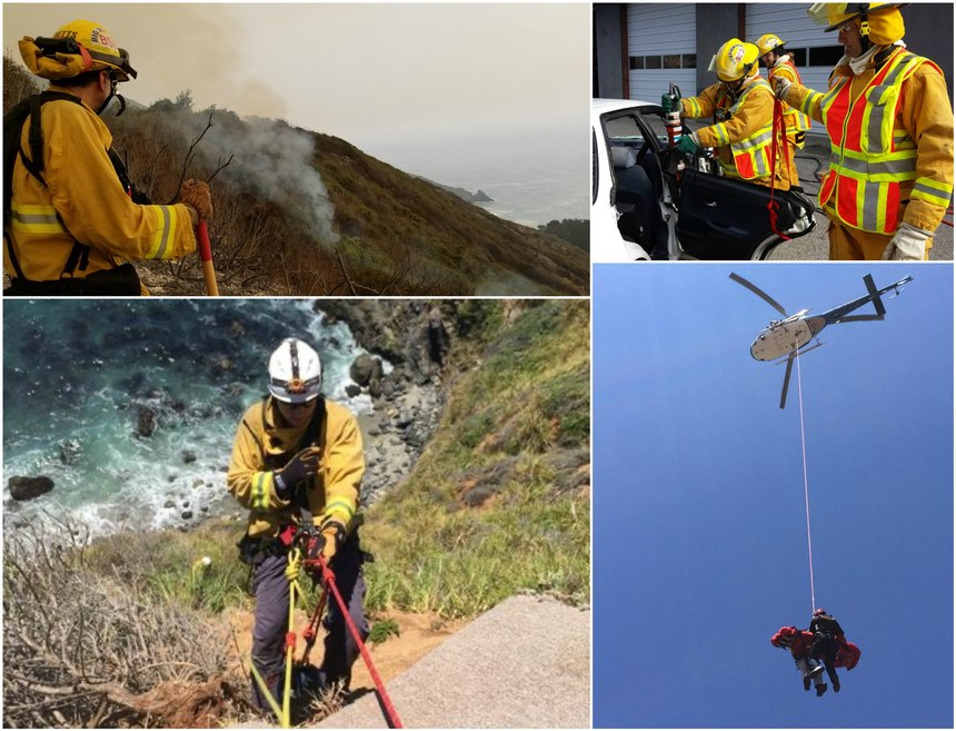 Big Sur Fire focuses its training on cliff and back country rescues, structural and wildland firefighting, vehicle accidents, EMS and back country wilderness medicine, as well as a variety of specialty exercises, such as chainsaw operations in the wildland environment.