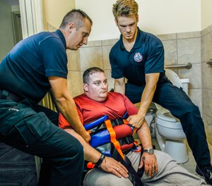 It's important to have the equipment necessary to protect yourself and your patient through the initial move. The Binder Lift, a vest-like device with multiple handles, can be put on the patient quickly and allows providers to smoothly lift someone who is in an awkward position. (image/Binder Lift)